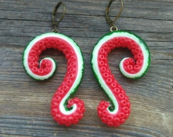 Tentacle earrings, Cthulhu earrings, Octopus earrings, Valentines Day, Watermelon earrings, Polymer clay earrings, Fruit earrings