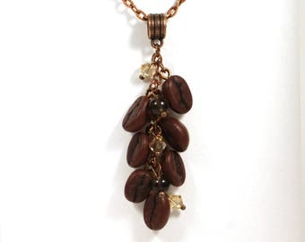 Coffee jewelry, Coffee bean necklace, Coffee lovers gift, Barista gift, Cappuccino, Gift for her, Gift for mom, Coffee pendant, Coffee beans
