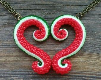 Cthulhu, Lovecraft, Kraken, Tentacle, Best friends necklace set, Octopus necklace, best friend gift, best selling items, sympathy gift