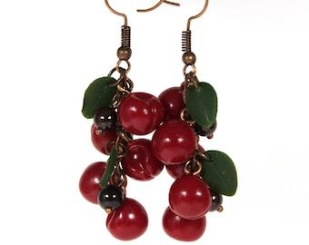 Cherry earrings, Valentine's Day, berry earrings, Fruit jewelry, Fruit earrings, Miniature food jewelry, polymer clay jewelry, Woman gift
