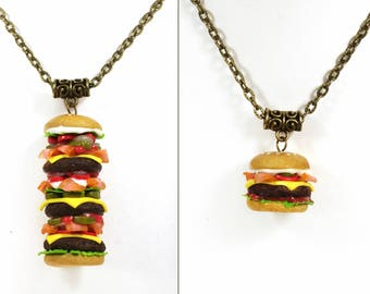 Burger necklace, Valentine's Day, Burger pendant, Cheeseburger necklace, Fast food, Burger jewelry, miniature food jewelry, Food charm