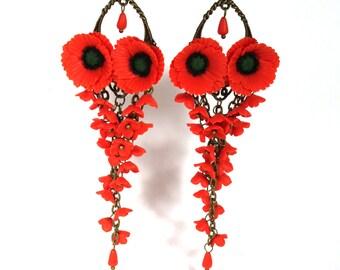 Poppy earrings, Flower earrings, Red flower earrings, Poppy jewelry, Gift for women, Floral jewelry, Bohemian earrings, Mothers day gift