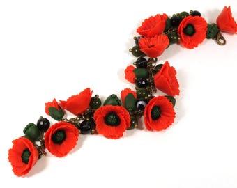 Red Poppy Bracelet, Poppy Jewelry, Red Flower Bracelet, Red Bracelet, Charm Bracelet, Woman gift, Handmade jewelry, polymer clay bracelet