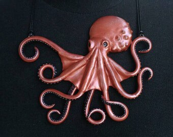 Statement necklace, Cthulhu, Lovecraft, Kraken, Bib necklace, Copper, Octopus necklace, Polymer clay necklace, Large necklace, tentacle