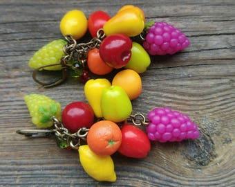 Fruit earrings, Food earrings, Bijoux fimo, Fruit jewelry, Miniature food, Grape earrings, Gift for her, Cherry earrings, Peach earrings