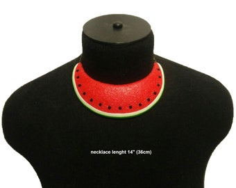 Watermelon Necklace, Statement necklace, Mother's Day, Fruit Necklace, gift for her, Bib necklace, Berry necklace, Polymer clay necklace