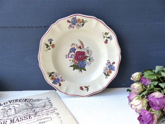 Sarreguemines 20s French earthenware plates brown and blue old rose decor  vintage dishes  retro countryside kitchen