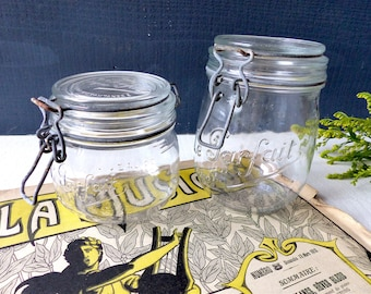 Vintage French Le perfect 2 old glass canning jelly jars french glass Jar antique Shabby Chic country cooking France