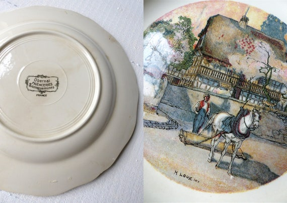 Old Plate Flat French Sarreguemines Obernai France Lorraine Etsy