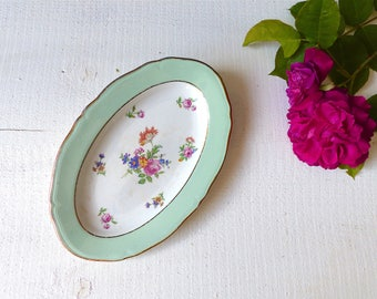 RAVIER old french platter green Shabby Vintage french flower flat earthenware dish