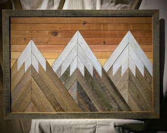 RECLAIMED WOOD wall art mountain scene Vancouver B.C. by Danny Siggers