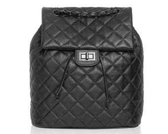 7ad9e66e6ba5 CLOE Italian women rucksack quilted leather backpack with adjustable  leather chain back straps smooth soft matelassé leather made in Italy