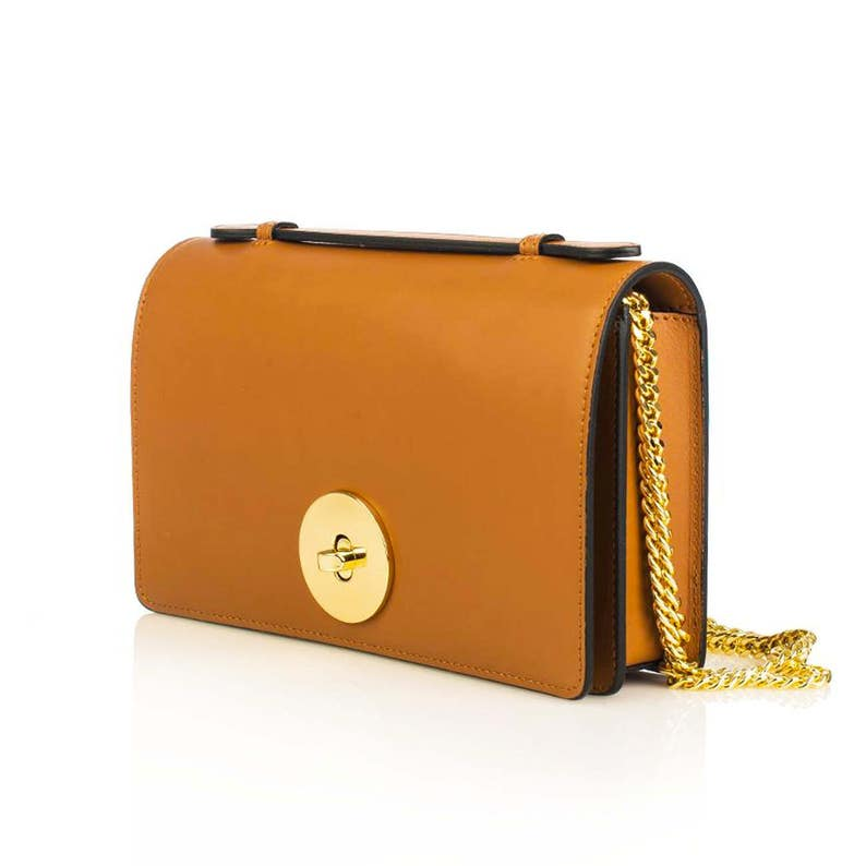83bdaeed573d2 JESSICA Clutch pocket shoulder crossbody evening purse light gold chain  smooth leather zipper flap original hand clutch bag women wallet