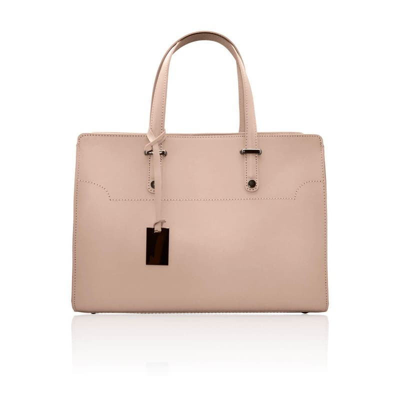 9d77303d4cb6a HILLARY Tote handbag briefcase with smooth stiff leather Shopper  compartment handbag zipper leather pendant laptop 12'' business ladies bag