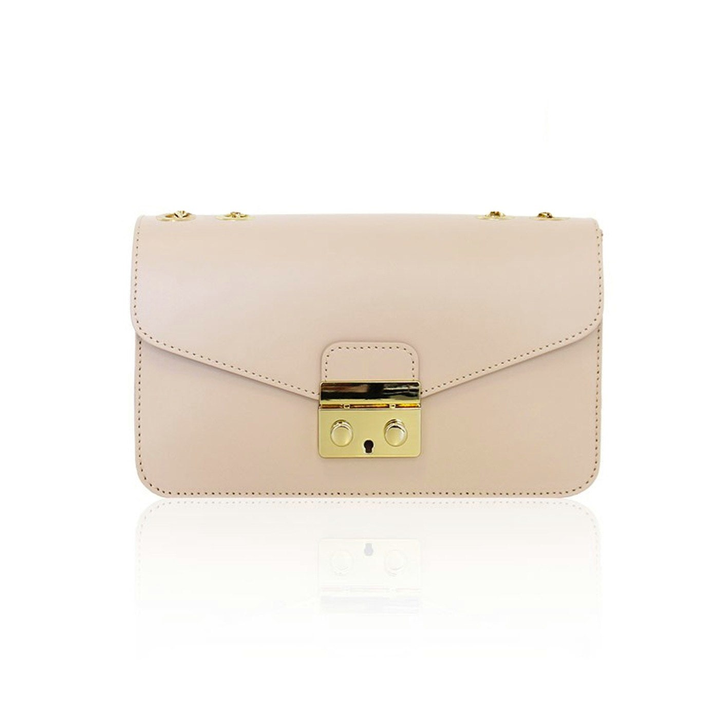 b36983d5be3f9 AMELIA Italian Baguette clutch mini bag with light gold plated chain smooth  leather, evening clutch mini bag, light gold snap, Italian bag