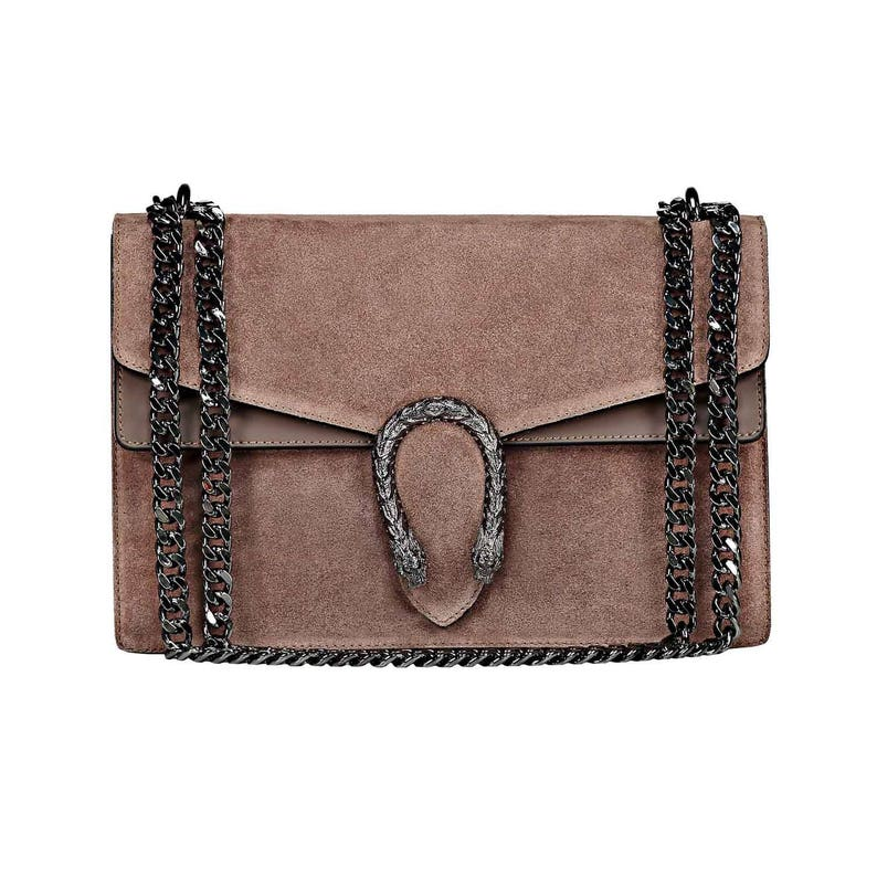 RACHEL Italian Baugette clutch mini bag with chain and metal accessory smooth  leather 734c6390fad5f