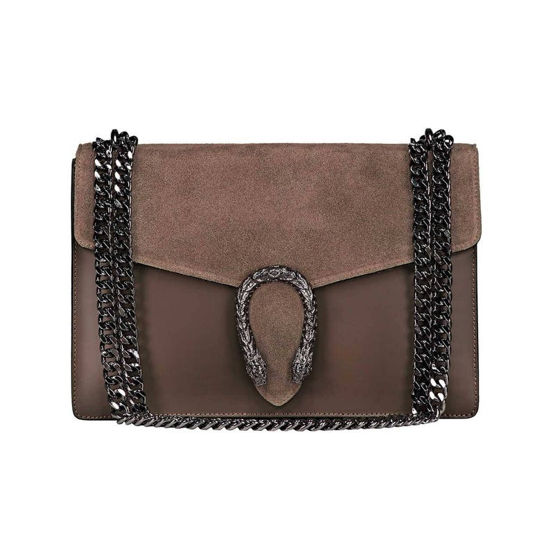 RONDA Italian Baugette clutch mini bag with chain and metal  3390b0a6974dd