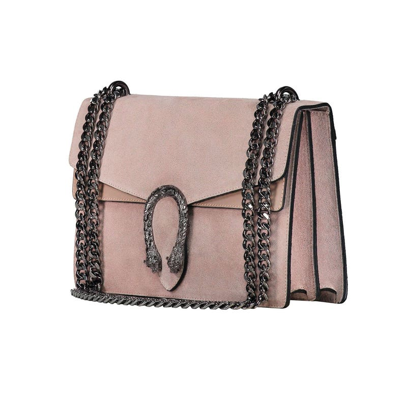 26c0e90bb529a RACHEL Italian Baugette clutch mini bag with chain and metal accessory  smooth leather, dark nickel chain and snakes accessory, evening bag