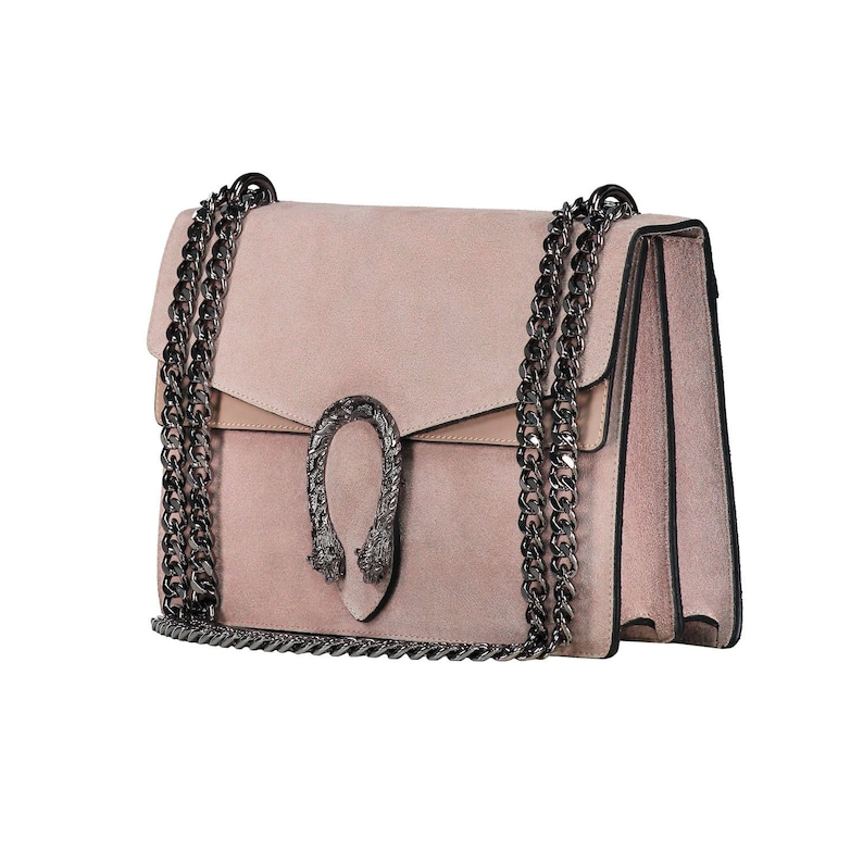 57976bcc2e88d RACHEL Italian Baugette clutch mini bag with chain and metal accessory  smooth leather, dark nickel chain and snakes accessory, evening bag