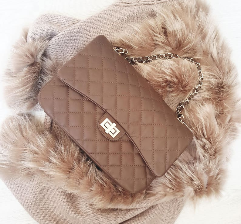 7351490614 COSTANZA Italian quilted crossbody shoulder large clutch purse