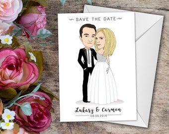 Save the Date Invitation, Custom Couple Portrait, Custom Save the Date, Save the Date Portrait, Save the Date, Wedding Invitation, Printable