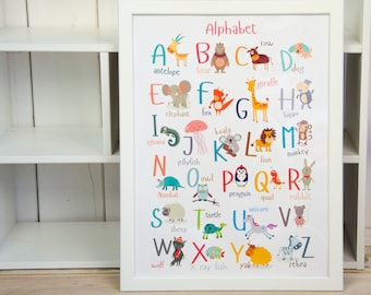 Wall Alphabet Print, Animal Alphabet Poster, Baby Alphabet Decor, Nursery Decor, Baby Shower Birth Gift, Birthday Gift For a Child - DIGITAL