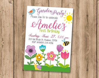 Garden party invitation Outdoor tea party invite Flower birthday invitation DIGITAL