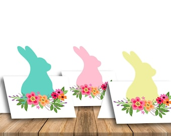 Easter place cards Table number cards Easter party place card Easter decor Printable happy easter foldable tent cards Easter bunny - DIGITAL