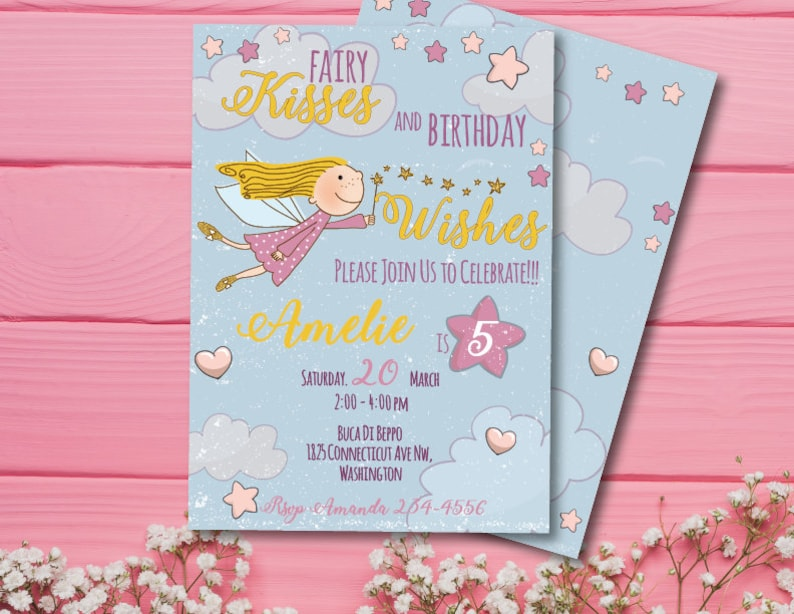 Fairy Birthday Invitation Template Girl Fifth Party