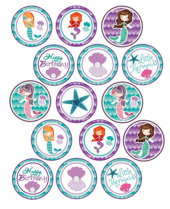 Little Mermaid Cupcake Toppers Mermaid Birthday Party Little Etsy