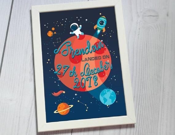 Outer Space Nursery Decor First Birthday Boy Wall Art