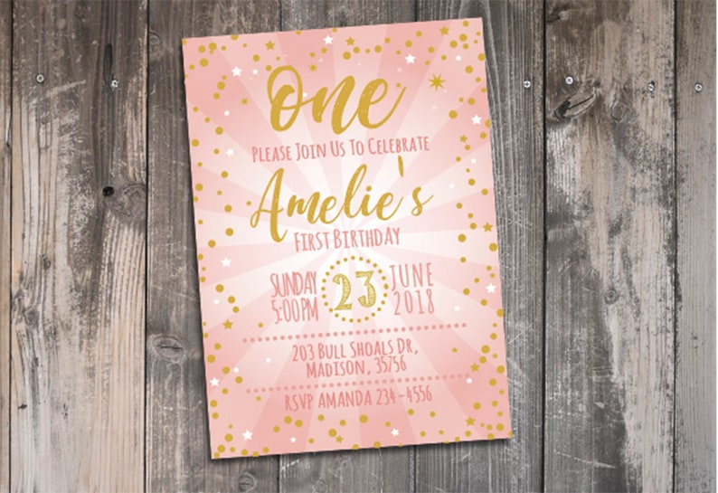 Baby Girl Pink And Gold First Birthday Invitation Template 1st Birthday Invites Personalized Printable Bday Party Decor Invitations Digital