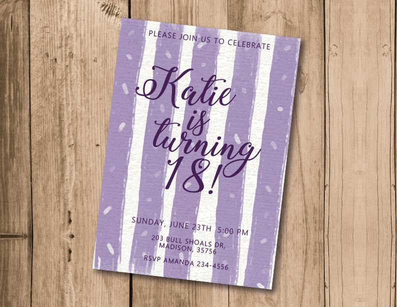 Katie 18th Birthday Invitation Printable Purple Invites Katy 18 Bday Party Invite