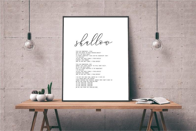Shallow song lyrics print A star is born song wall art printable Lady Gaga  song wall print Custom song print Quotes printable