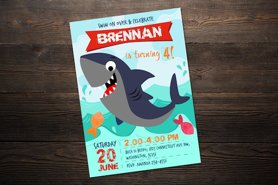 Shark Invitation Template Birthday Thank You Cards Whale Invites First Party Printable Decor