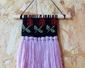 Mini Woven Red Berry Wildflower Wall Hanging