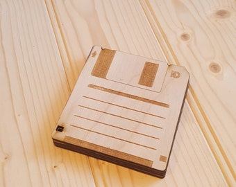 Laser cut Floppy Disk coaster set of 4