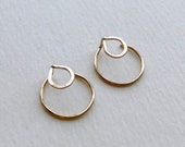 Circle EAR JACKETS, Gold Ear Jacket, Double Earrings, Geometric Earrings, Circle Studs, Minimalist Jewelry, Gift for Her, Modern Jewelry
