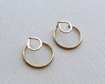 Circle EAR JACKETS, Gold Ear Jacket, Double Earrings, Geometric Earrings, Circle Studs, Minimalist Jewelry, Gift for Her, Modern Jewelry