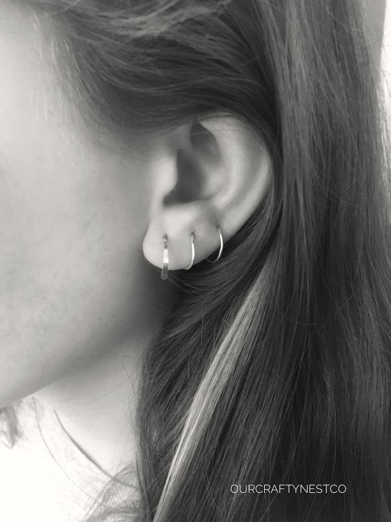 594557411c6cc Spiral Hoop, MULTIPLE PIERCING, SILVER Hoop, 3 Piercings Threader, Earrings  for 3 Holes, Triple Piercing, Side by Side holes, Unisex Earring