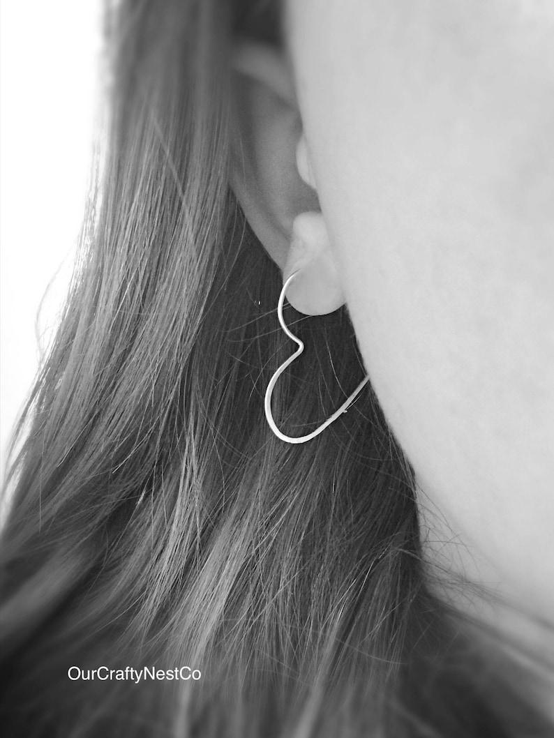 e3d094712db00 HEART HOOP Earrings, Hammered Hoops, SILVER Hoops, Hammered Wire, Ear Wire,  Minimalist Jewelry, Gift for Her, Modern Jewelry, Geometric Hoop