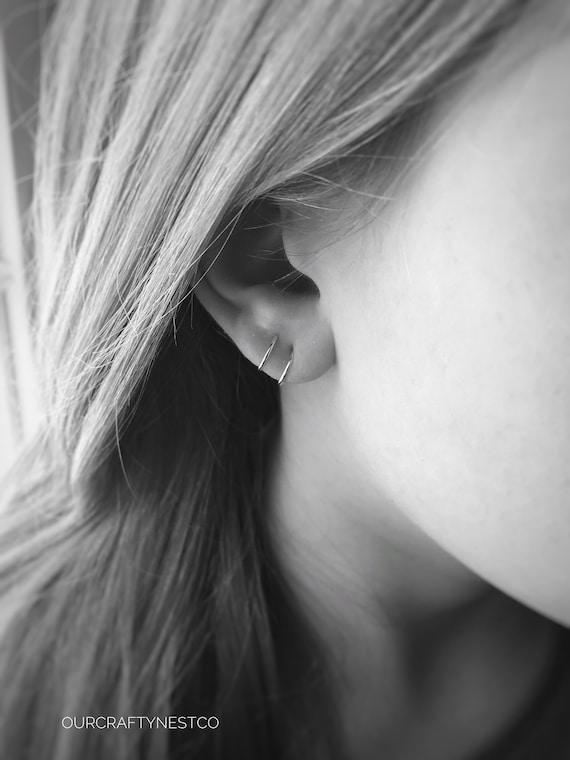Fake Second Piercing Double Ear Hoop Fake Lobe Piercing Etsy