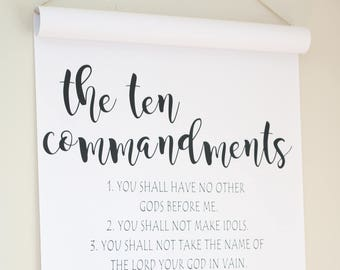 Ten Commandments Sign,Paper Scroll,Scripture Wall Art,WallDecor,Cottage Sign,Farmhouse Sign,Farmhouse Wall Decor,Gift For Her,Gift For women