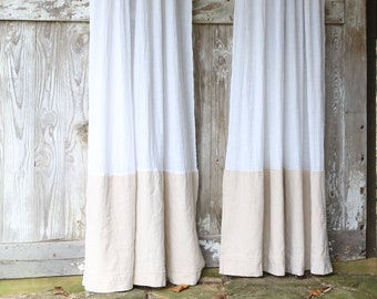 Farmhouse CurtainWhite CurtainDrop Cloth Curtain PanelTwo Tone CurtainWindow CurtainFarmhouse Window CurtainCurtain PanelTan