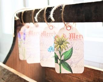 Vintage Flower Tags, Digital Download, Downloadable Tags, Napkin Tags, Garden Tags, Vintage Tags, Vintage Digital Downloads, Vintage Style