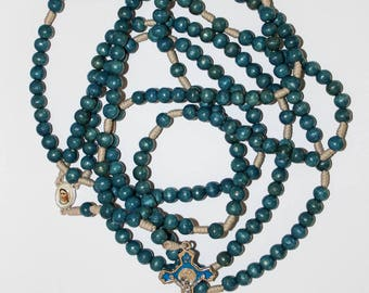 20 Decade Blue Wood Beads Rosary on Strong Cord Holy Rosary of Sacred Mysteries
