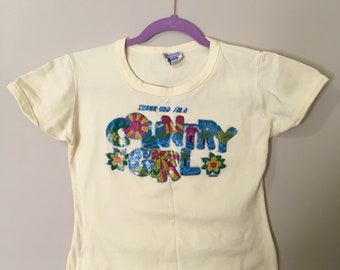 "Vintage 1970s ""Country Girl"" crop top! Yellow and small!"