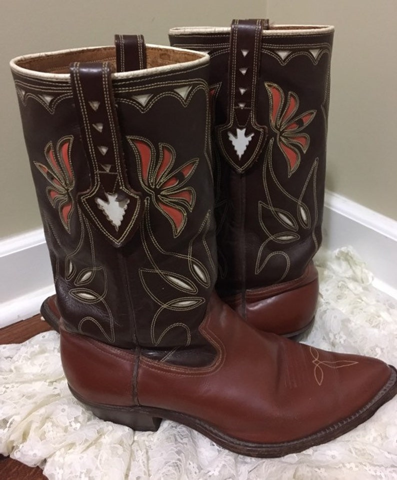 c12ea723a68 1950's Acme western-cowboy-cowgirl boots with inlay! Stamped by Nudie/  Men's 8-8.5 fits women's 9.5-10