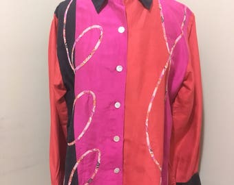 Vibrant 1980s Koos of Course! Top/blouse!