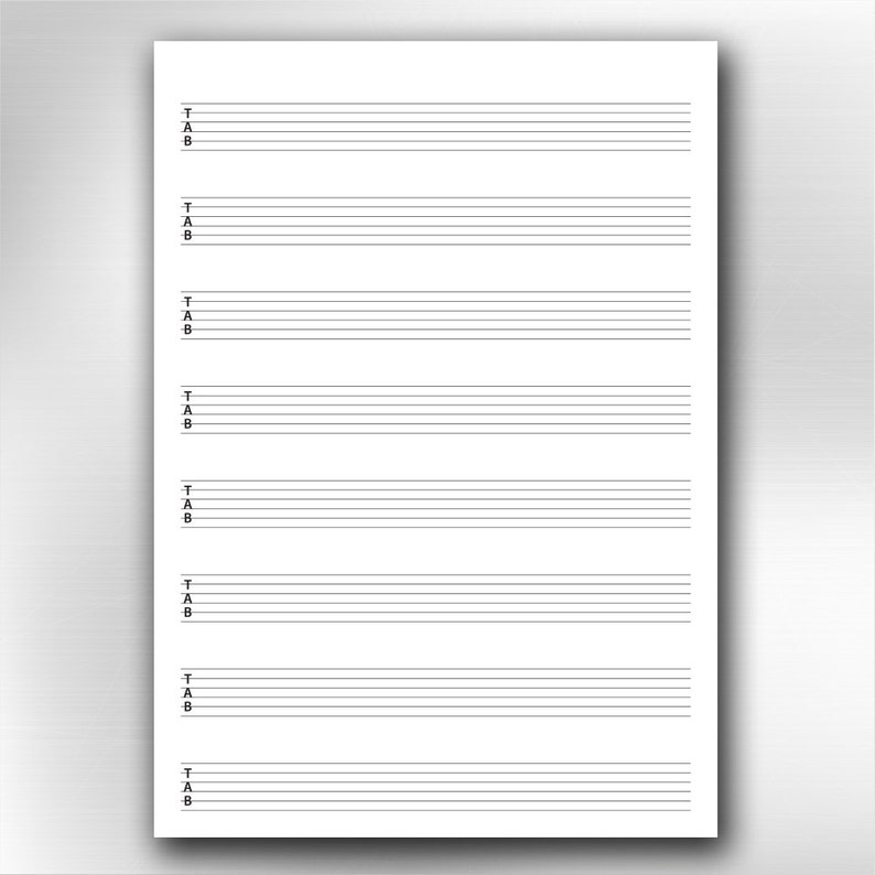 A4 Printable Guitar Blank Tablature Chart Diagrams Etsy